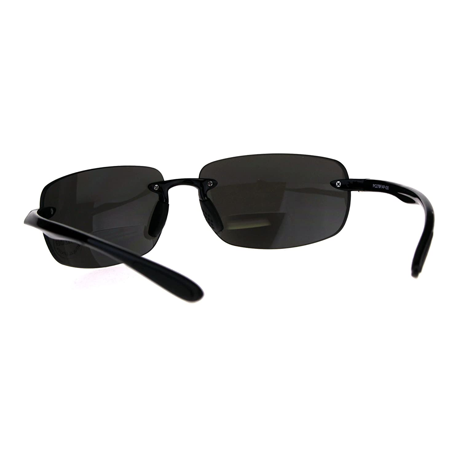 737ff16db99f Amazon.com: Mens Rimless Warp Sport Sunglasses With Bifocal Reading Lenses  All Black 1.0: Clothing