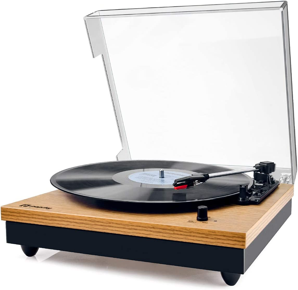 Record Player, Popsky Vintage Turntable 3-Speed Bluetooth Record Player with Speaker, Portable LP Vinyl Player, RCA Jack, Natural Wood