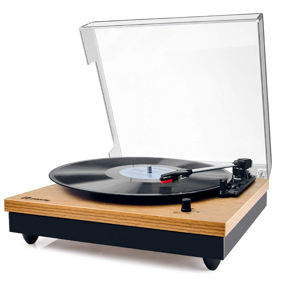 Record Player, Popsky Vintage Turntable 3-Speed Bluetooth Record Player with Speaker, Portable LP Vinyl Player, RCA Jack, Natural Wood by popsky