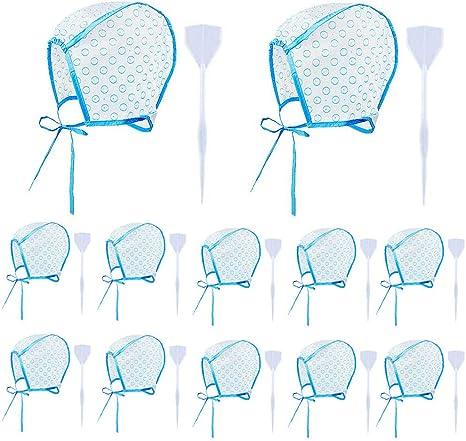 12 Piezas de Gorro de Tinte, con 12 Piezas de Ganchos de Plástico Para Teñir el Cabello, Gorro de Peluquería Desechable Sombrero para Teñir el Pelo ...