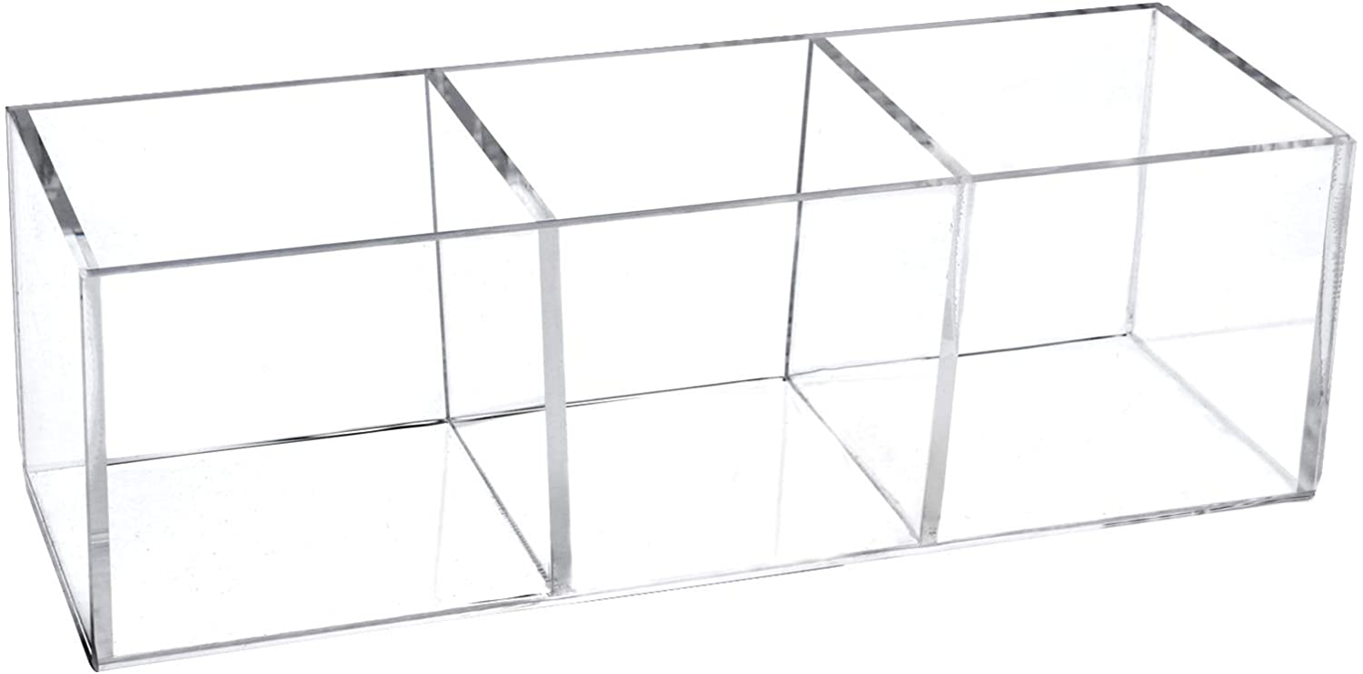 Acrylic Drawer Organizer, Dedoot 3 Section Drawer Organizer Plastic Durable Makeup Jewelry Accessories Storage Organizer, Clear Acrylic Plastic Square Cube Box,7.5x2.5x2.3 Inch
