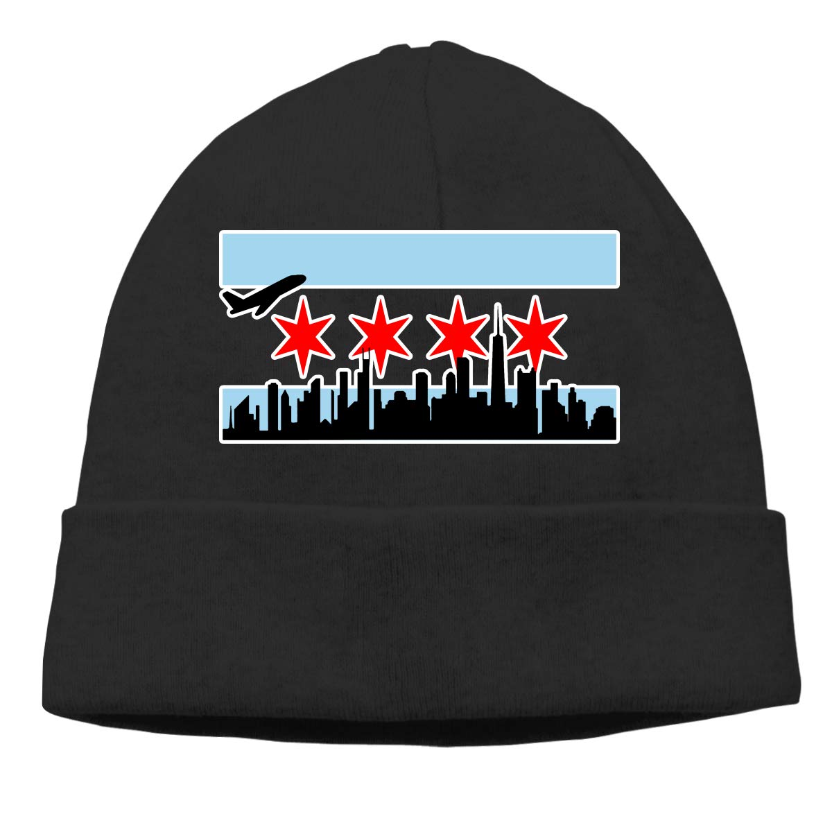 6b00d519b7d Chicago Skyline Beanie Hat Classic Toboggan Hat Winter Hats Knit Hat Beanies  for Men and Women at Amazon Men s Clothing store