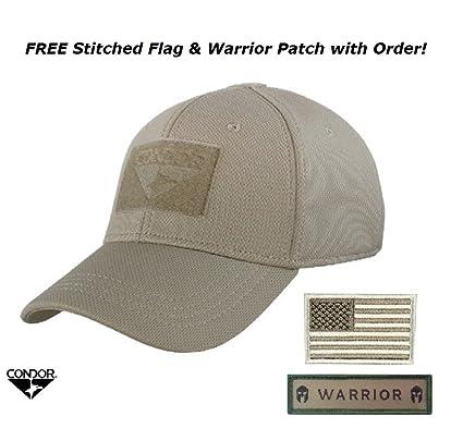 Amazon.com  Condor Flex Tactical Cap (Tan) + FREE Stitched Velcro ... 11cf2f3a57c
