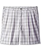 Haggar Men's Big-Tall Cool 18 Yarn Dye Check Pleat Front Short