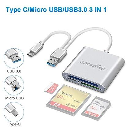 Lector Tarjeta de Memoria SD/CF/SD/TF, USB Tipo C Micro USB ...