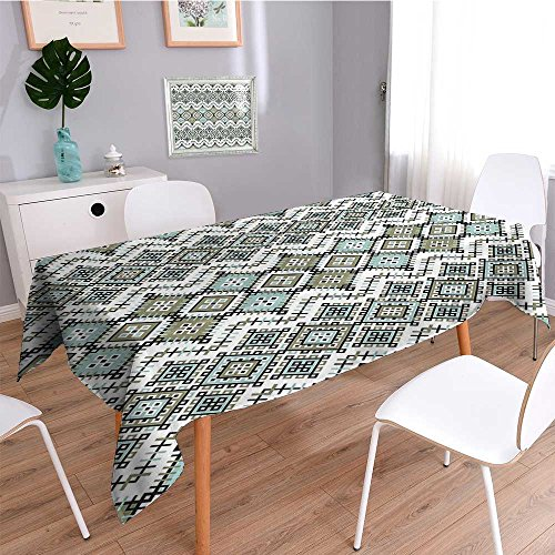 - SCOCICI1588 Square Tablecloth with Square Shapes Line Culture Art Sage Green Seafom Perfect for Spring, Summer, Indoor, Outdoor Picnics or Everyday Use-W50 x L50