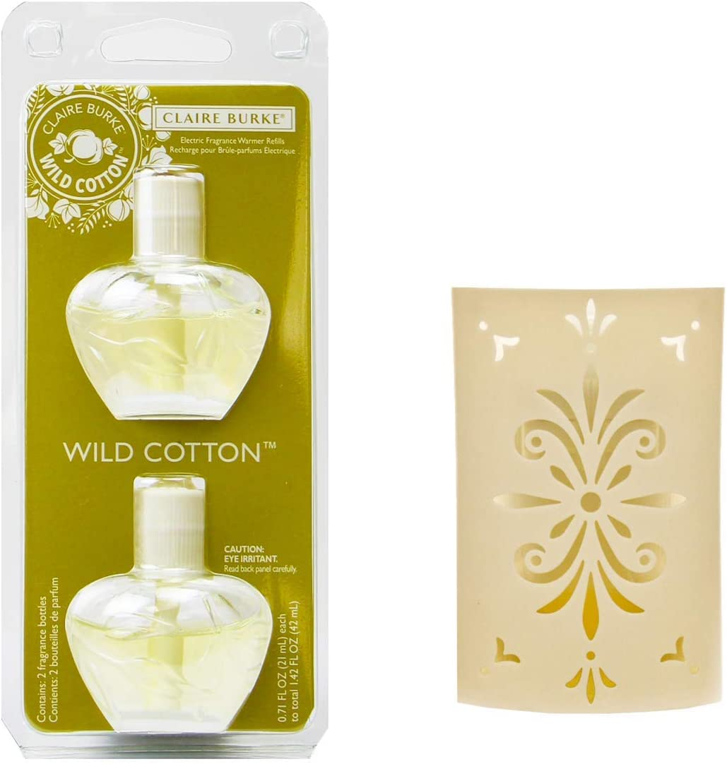 Claire Burke Wild Cotton Electric Fragrance Warmer Unit and Refill Bundle