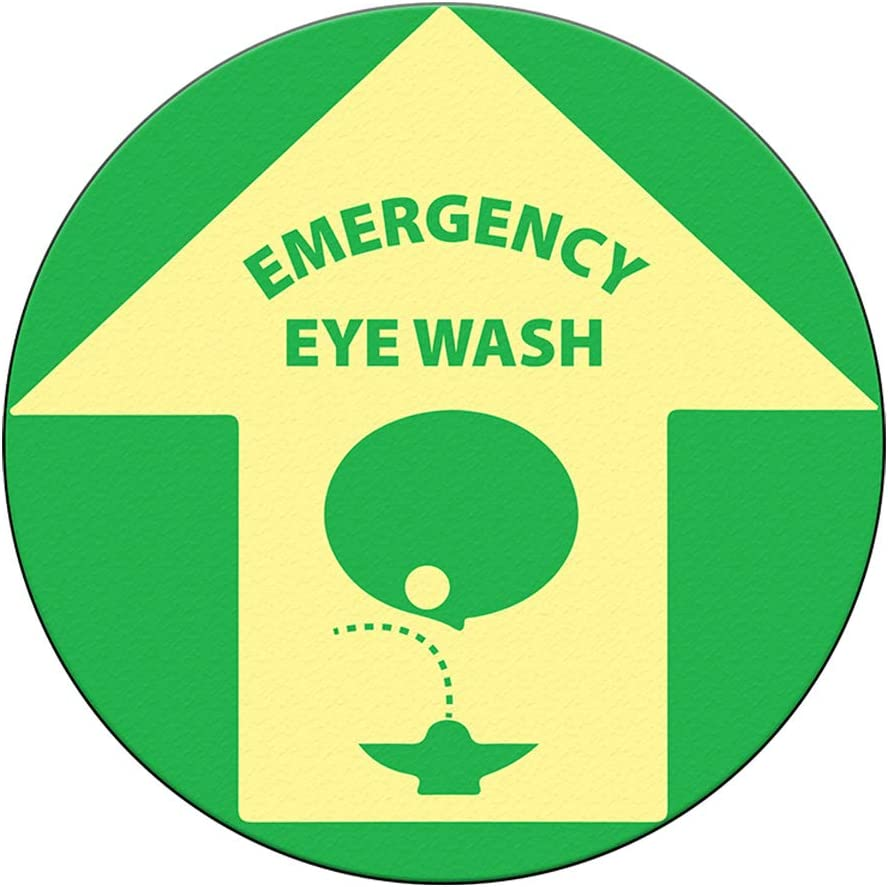 Emergency Eye Wash Floor Decals Green Tan Anti-Slip Round Shape Lifestyle Industrial Signs Stickers 36Inches Longer Side