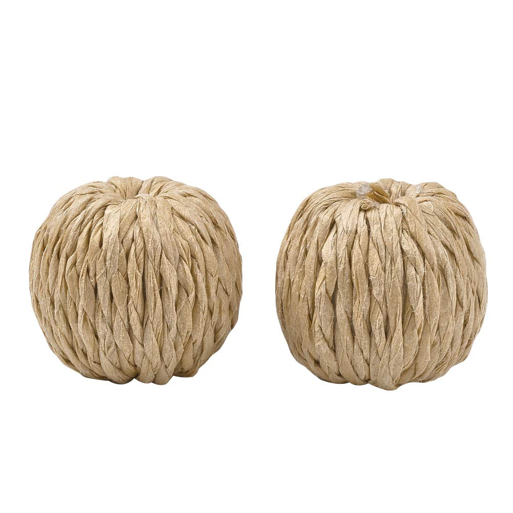 arricraft 50 Pcs Handmade Imitation Raffia Round Paper Woven Bisque Beads with Wood Inside for DIY Craft Making by arricraft
