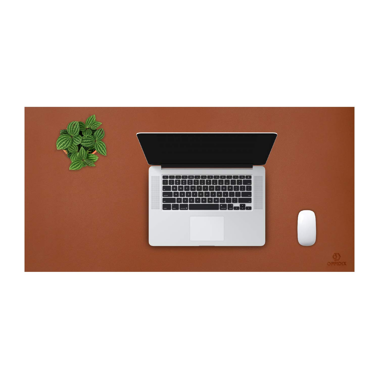 OFFIDIX Office Desk Mat,Desktop PU Leather Desk Pad Non-Slip Leather Protective Desk Pad Laptop Mat Gaming Writing Mat for Laptop PC Keyboard Office Home (Brown, 24''x12'')