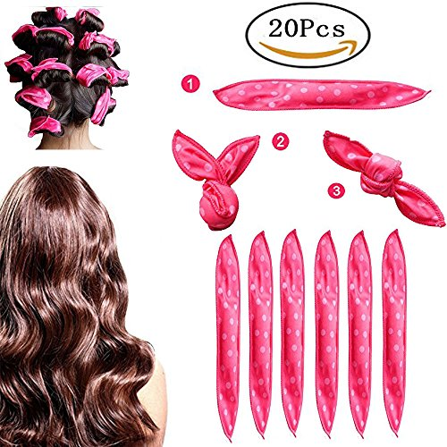 Foam Hair Curlers, Pillow Cloth Hair Rollers,No Heat Sleeping Soft Sponge Rollers for Long, Short, Thick & Thin Hair Spiral Curls Hair Free Headband (Pink)
