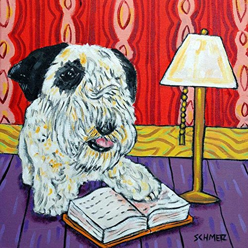Sealyham Terrier Reading at the Library Decor dog art tile coaster gift