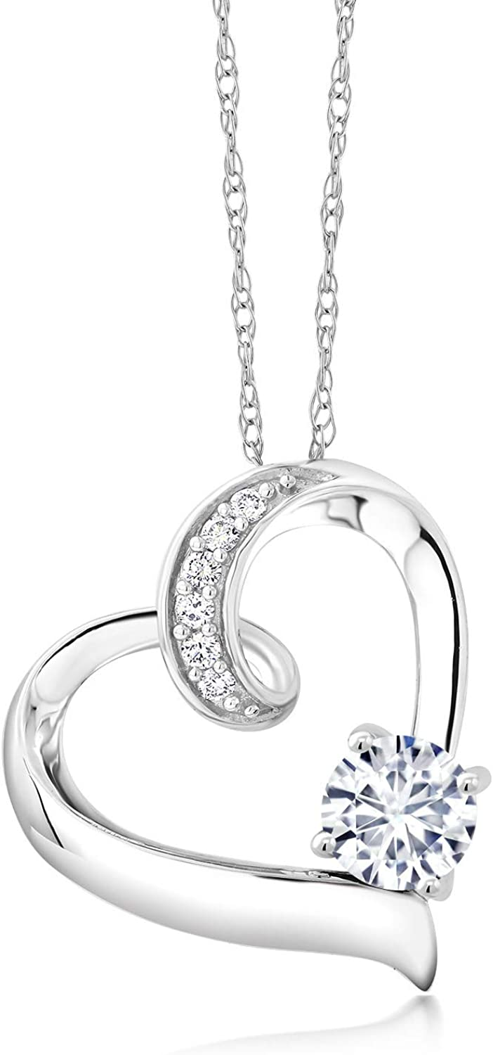 10K White Gold Pendant Lab Grown Diamond Heart Necklace Forever Brilliant (GHI) Round 0.50ct (DEW) Created Moissanite by Charles & Colvard