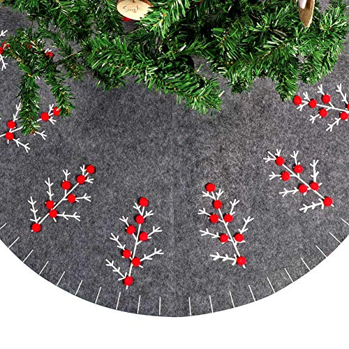"OurWarm 48"" Vintage Christmas Tree Skirt, Grey Felt Simple Christmas Tree Skirt for Christmas Tree Decorations Holiday Decor"