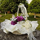 Flower Girl Baskets The Fabric Lace Decoration Cute Handle Flower Girl Basket White Flower Basket For Wedding Decoration