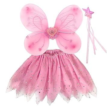 EQLEF Traje de Hadas para niños, alas de tutú Alas de Mariposa fijadas Traje de alas de Princesa de Hada para niñas Traje de Fiesta para niñas (Rosa)