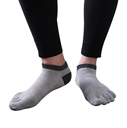 calcetines hombre cortos Sannysis 2 pares calcetines running hombre, calcetines de punta (gris claro