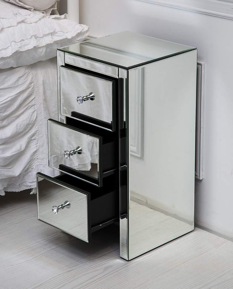 Table de chevet miroir avec 3 tiroirs