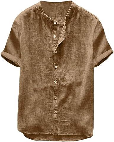 Camiseta de Manga Corta para Hombre de algodón y Lino Color ...