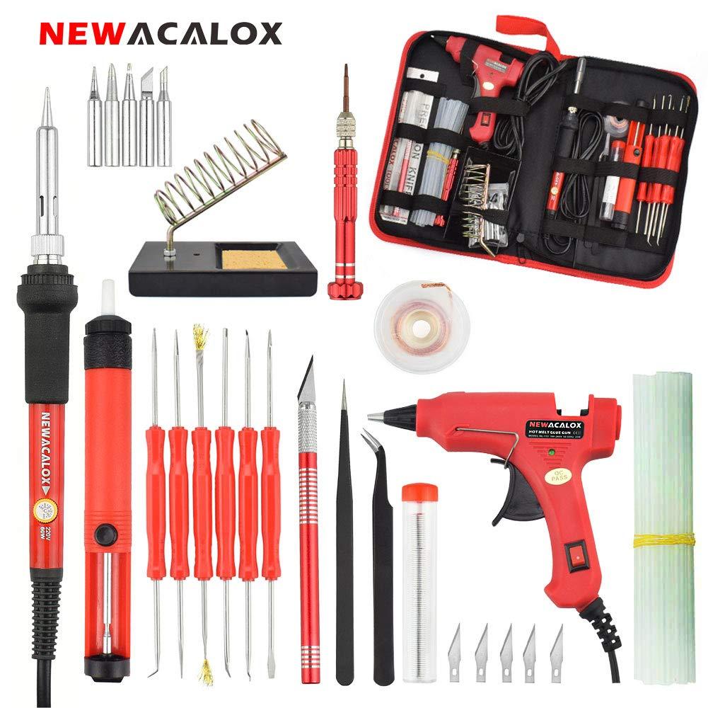 Soldering Iron 43 in 1 kit,NEWACALOX 60W Temperature Adjustable Welding iron With Mini Hot Melt Glue Gun and Sticks,Desoldering Pump,6pc Solder Assist Tool,5pcs Tips,Screwdriver,Soldering Stand