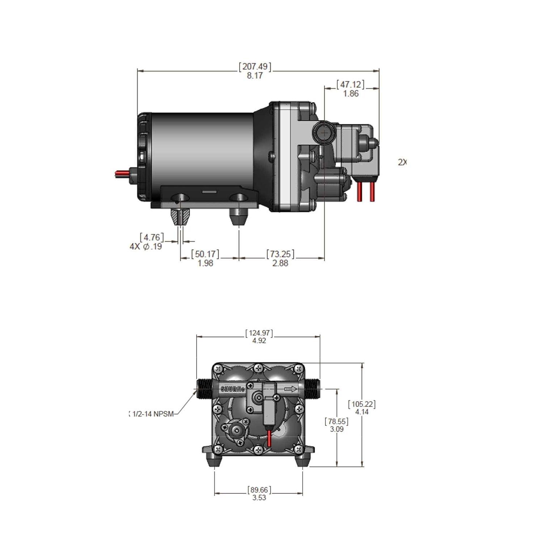 12 VDC 2.0 GPM SHURFLO AQUA KING  II Junior Fresh Water Pump