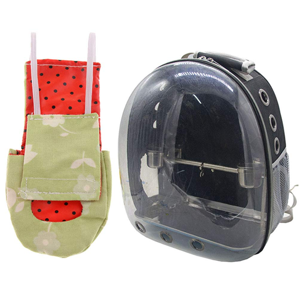 Perfeclan Transparent Pet Breathable Pet Parred Travel Space Capsule Backpack Carrier with Bird Fashion Nappy Diaper (Black)