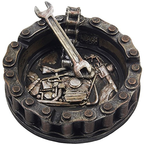 Decorative Motorcycle Chain Ashtray with Wrench and Bike Motif Great for a Biker Bar & Harley Mechanics Shop Smoking Room Decor As Unique for Men or Smokers