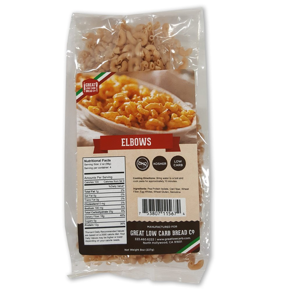 Low Carb Pasta, Great Low Carb Bread Company, 8 oz. (Elbows) by Great Low Carb Bread Company