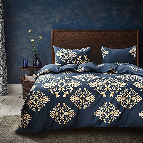 Duvet Set Gold (Blue and Gold Duvet Cover Set Luxury Bohemian Bedding Golden Baroque Pattern Printed Blue Bedding Gold and Blue Microfiber Bedding Set King-(104