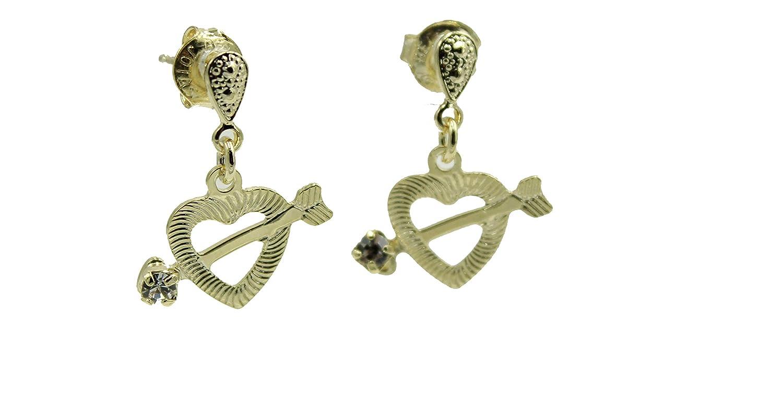 Heart with Arrow Dangle Earrings 18k Gold Plated Earrings Cupids Heart Dangle Studs
