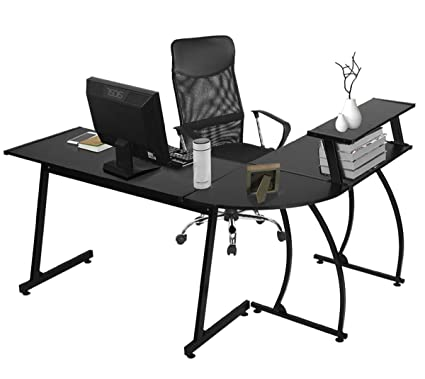 Amazon.com: GreenForest L Shaped Corner Computer Desk, PC Laptop Gaming  Table Workstation With Shelf For Home Office 3 Piece, Black: Kitchen U0026  Dining