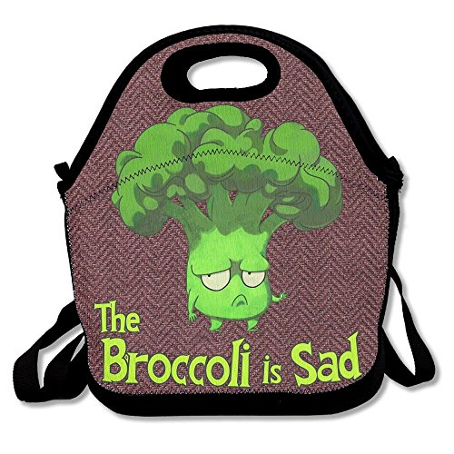 Broccoli Quiche (Hoeless Sad Broccoli Insulated Lunch Tote With Zipper,Carry Handle And Shoulder Strap For Adults Or Kids Black)