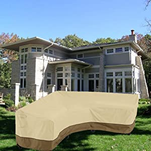 boyspringg Patio Sectional Sofa Cover V-Shaped Waterproof Dustproof Outdoor Furniture Covers L-Shape Couch Cover Sofa Bench Covers Left Side