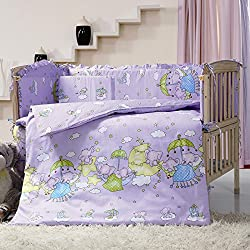 Purple Color Cartoon Fly Elephant Girl's Crib Bedding Sets,7 Pieces Baby Crib Bumper With Quilt,kids Cot Nursery Bedding Bumper Sets,Size 51.1'' x 27.5 '' 130 x 70 CM