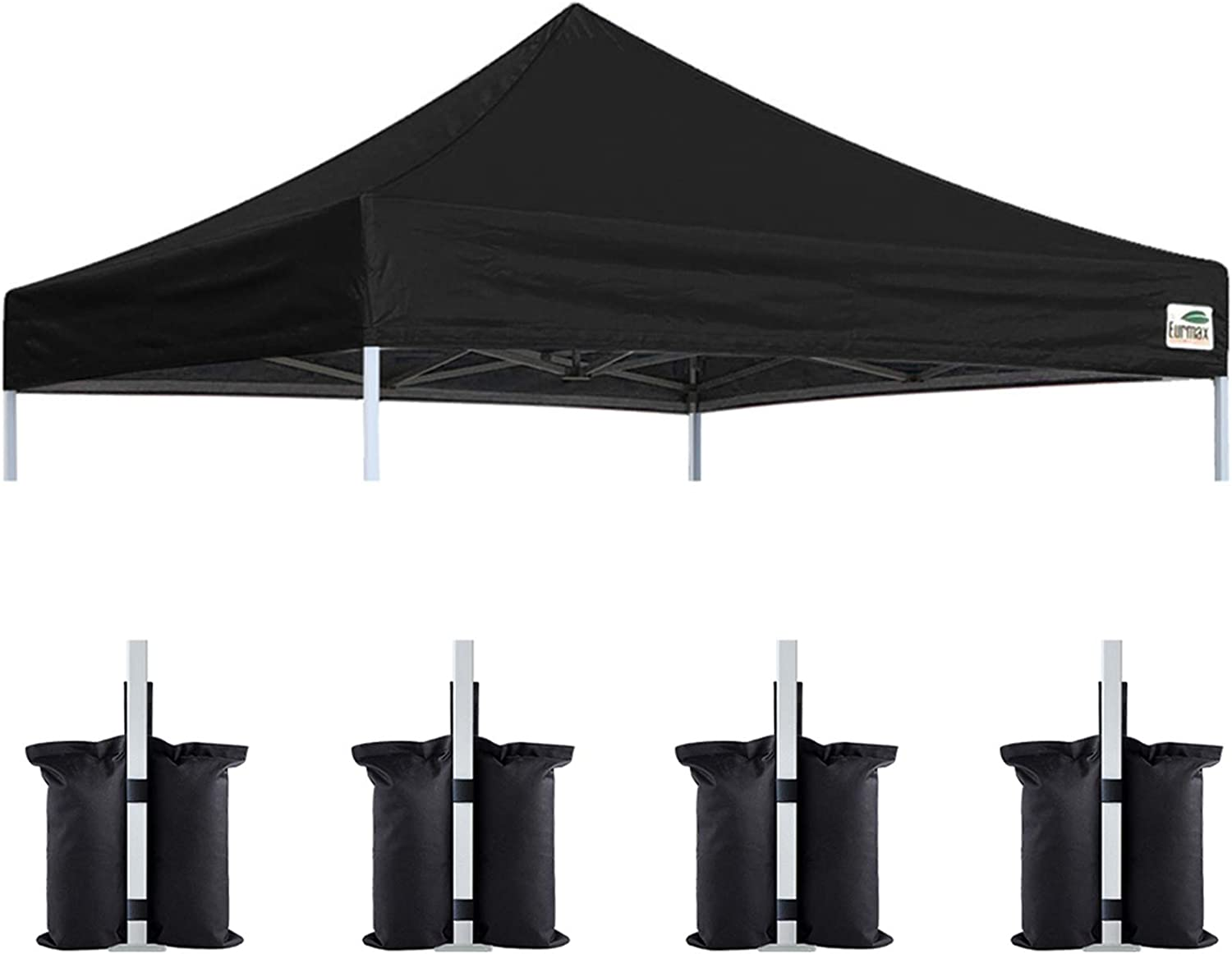 Eurmax New 10x10 Pop Up Canopy Replacement Canopy Tent Top Cover, Instant Ez Canopy Top Cover ONLY, Choose 30 Colors,Bonus 4PC Pack Canopy Weight Bag (Black)