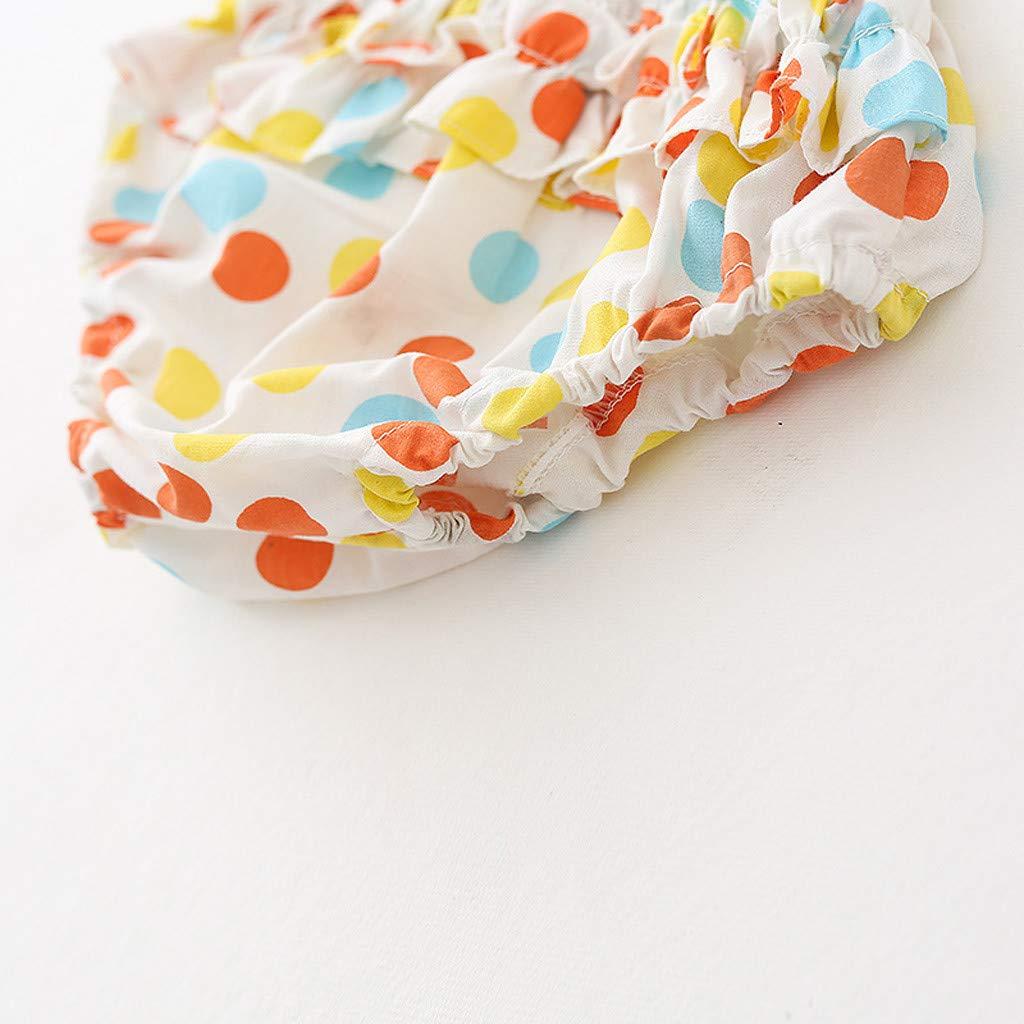 GIANTHONG Newborn Baby Kids Sleeveless Striped Polka Dot Dress+Pants Clothes Set Sunsuit