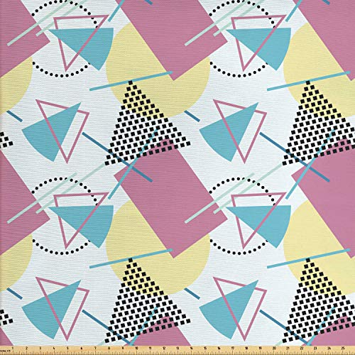 Ambesonne Retro Fabric by The Yard, Pastel Colored Funky Geometrical Shapes from Eighties and Nineties Memphis Style, Decorative Fabric for Upholstery and Home Accents, 2 Yards, Multicolor