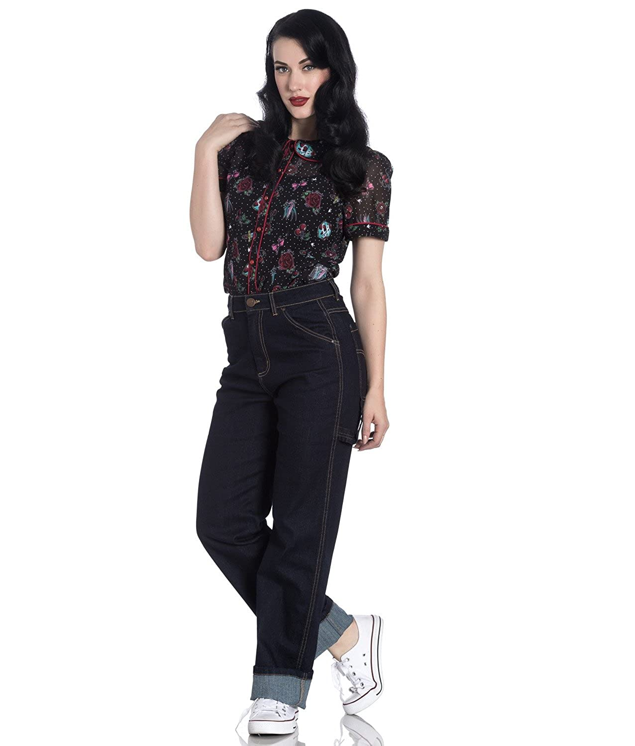 bdf7c3bbd0 Hell Bunny 40s 50s Navy Blue Denim Carpenter Jeans Trousers  Amazon.co.uk   Clothing