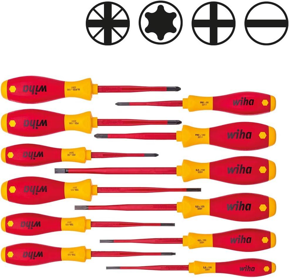 10,0 mm x 200 mm  VDE gepr/üft 00832 Wiha Schraubendreher SoftFinish/® electric Schlitz Allrounder f/ür Elektriker ergonomischer Griff f/ür kraftvolles Drehen st/ückgepr/üft
