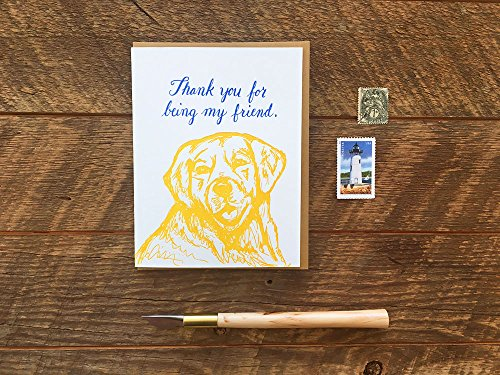 Thank You for Being My Friend, Dog Friend, Friendship Card, Letterpress Note Card, Blank Inside