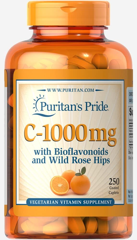 Vitamin C-1000 mg with Bioflavonoids & Rose Hips Supports Immune System Health**, 250 caplets by Puritan's Pride®