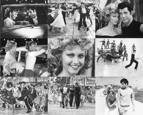 John Travolta and Olivia Newton-John in Grease Poster Collage 9 great scenes from cult