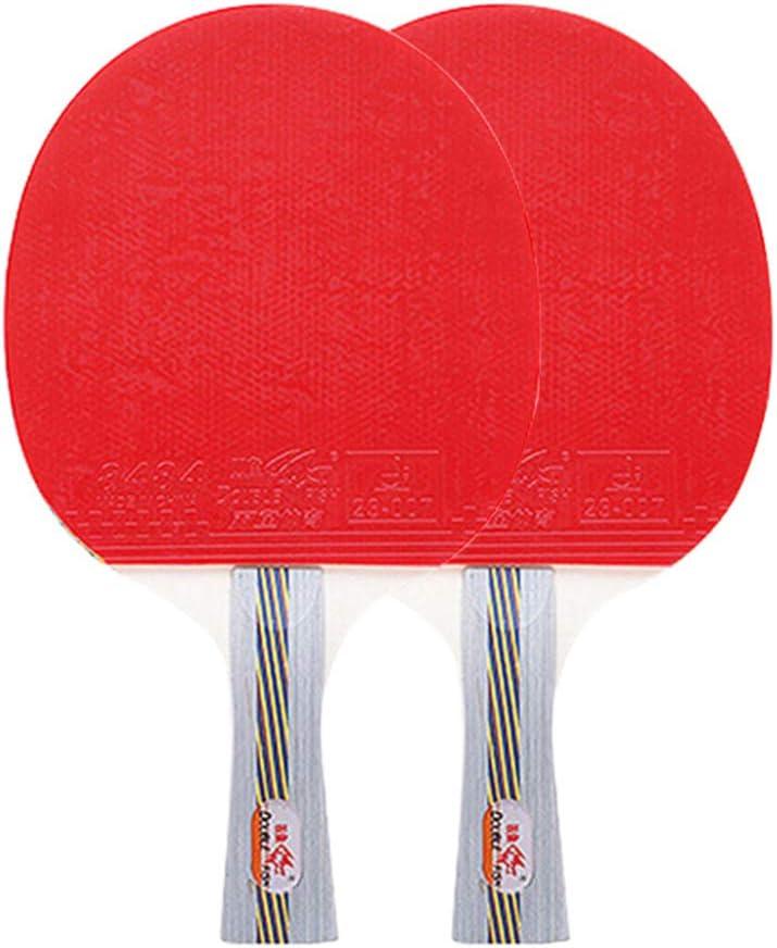 XGGYO Palas Tenis Mesa, Formación Palas Ping Pong, para Aficionados, Principiantes e intermedios (2 piezas) / Como se muestra/mango largo