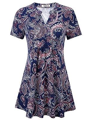 Jazzco Women's Short Sleeve V Neck Pleated Button Print Pattern Tunic T Shirts Dress