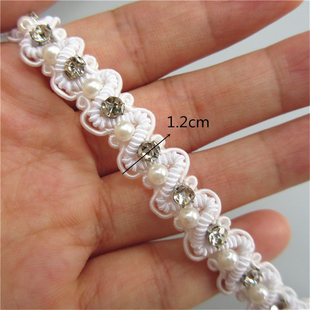 1 Yard Polyester Diamond Pearl Curve Lace Edge Trim Ribbon Band 1.2cm Width Vintage Style White Edging Trimmings Fabric Embroidered Applique Sewing Craft Wedding Bridal Dress DIY Party Headwear Headdress Clothes Embroidery