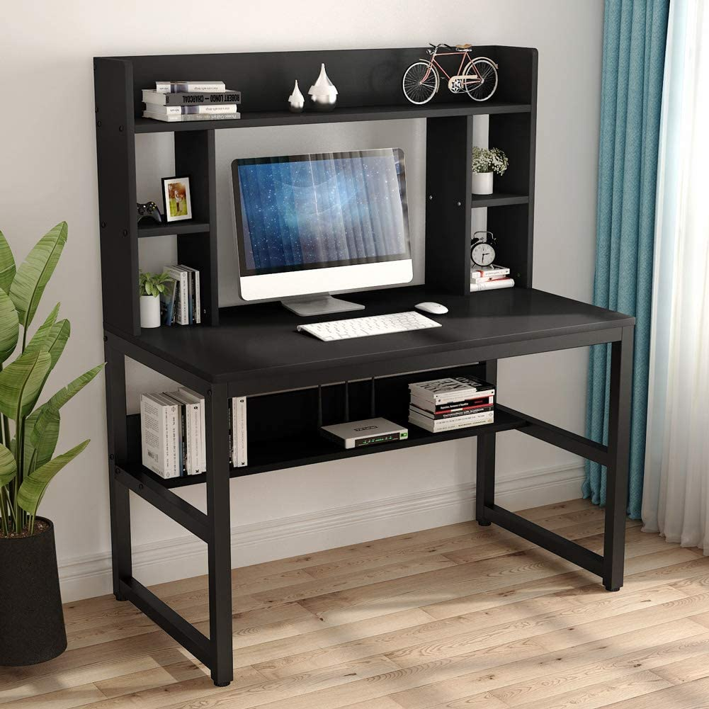 Tribesigns Computer Desk with Hutch, Modern Writing Desk with Storage Shelves, Office Desk Study Table Gaming Desk Workstation for Home Office, Black