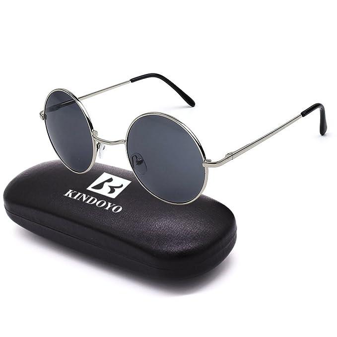 BOZEVON Retro Rotondi Occhiali da sole Occhialoni di d'annata UV400 per Uomo e Donna Nero-Grigio xsL7RvGB
