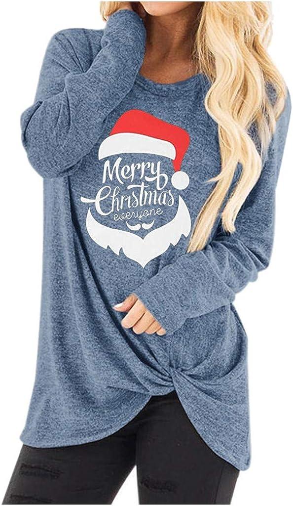 Briskorry Womens Casual Xmas T Shirts Ladies Winter Long Sleeve Twist Knot Tunics Tops Blouses