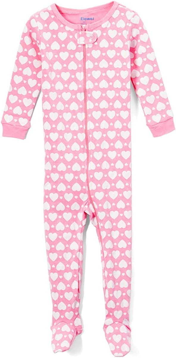 Size 6M-5Years Elowel Baby Girls Footed Heart Pajama Sleeper 100/% Cotton