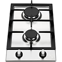 K&H Domino 2x Brûleurs Table de Cuisson Gaz en Acier Inoxydable 30cm 2Z-KHSS